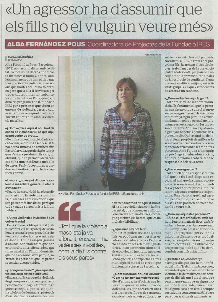 Entrevista Alba Fernández a El Periódico
