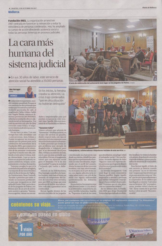 Diari de Mallorca. Notícia 30 aniversari SASJ